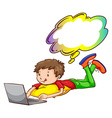 A young boy using a laptop vector