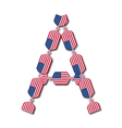 Letter a made of usa flags in form of candies vector