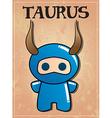 Zodiac sign taurus with cute black ninja character vector