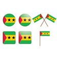 Badges with flag of sao tome and principe vector