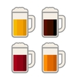 Four glasses with different color beers on white vector