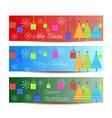 Merry christmas banners set design vector