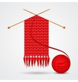 Knitted red scarf with a yarn ball vector