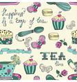 Color tea time pattern vector