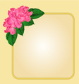 Golden frame with rhododendron greeting card vector