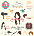 Retro style hair salon labels and icon vector