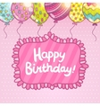 Happy birthday card with balloons and lettering vector
