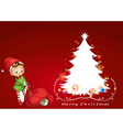 An elf beside the christmas tree vector