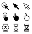 Cursors icons mouse hand arrow hourglass vector
