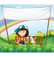 A girl and her dog near an empty banner vector