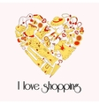 Heart from stylish hand drawn set of fashion items vector