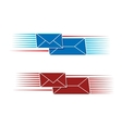 Two snail mail icons with envelopes vector
