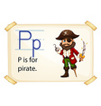 A letter p for pirate vector