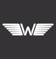 W - letter with wings logo in the black and white vector