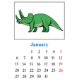 Calendar with dinosaur vector