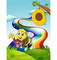 A rainbow at the hilltop with a bee and a beehive vector