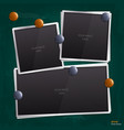 Set of empty photo frames on chalkboard vector