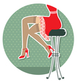 Retro woman legs with fashion shoes sitting on bar vector