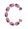 Letter c made of usa flags in form of candies vector