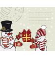 Retro christmas card with a snowmens vector