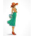 Elegant slender girl in hat vector