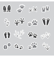 Basic animal footprints stickers set eps10 vector
