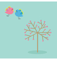 Love tree with hearts and bird flat design vector