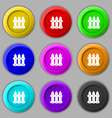Fence icon sign symbol on nine round colourful vector