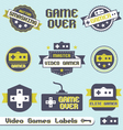 Video games labels and icons vector