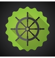 Boat steering whell flat icon with long shadow vector