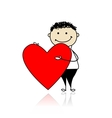 Cute boy with valentine heart place for your text vector