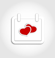 Calendar icon for valentines day with hearts vector