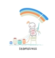Seamstress sewing colored threads on a rainbow sky vector
