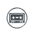 Audio cassette tape icon with hand drawn lines vector