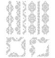 Set of borders with floral elements vector