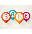 Sale poster with location markers in flat design vector