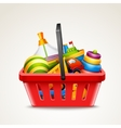 Toys in shopping basket vector
