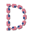 Letter d made of usa flags in form of candies vector