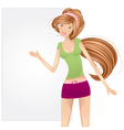 Girl with a blank billboard vector