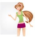 Girl with a blank billboard vector