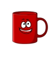 Red cartoon coffee mug with a happy face vector