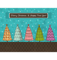 Background with forest of christmas trees vector