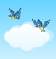 Two birds and copy space cloud vector