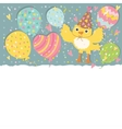 Happy birthday background with balloons and bird vector