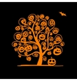 Halloween tree with pumpkins sketch for your vector