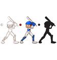 Sketches of a man playing baseball vector