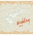 Wedding invitation card with beautiful bride vector