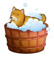 A big dog at the bathtub vector