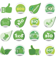 Green bio and eco stickers vector