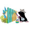 Mole painting a fence vector